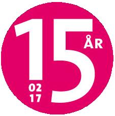 Logotyp för 15-årsfirandet av Dansa! i Falun